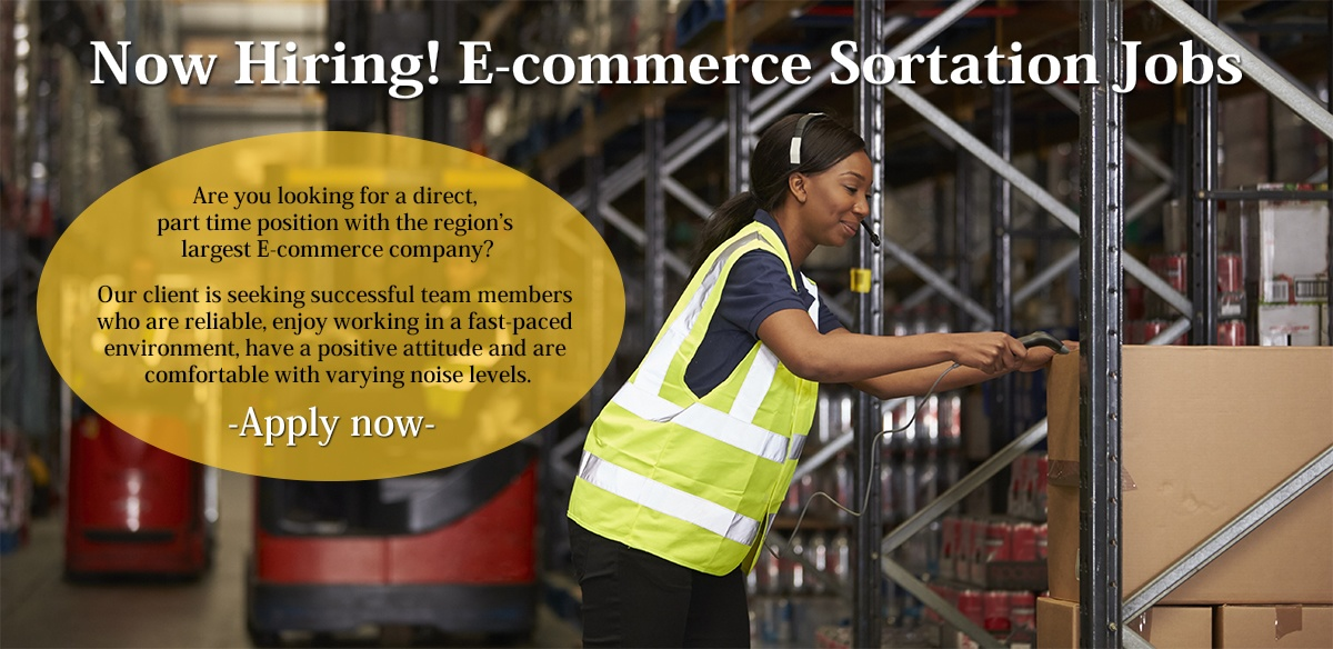 Now hiring! E-commerce Sortation Jobs